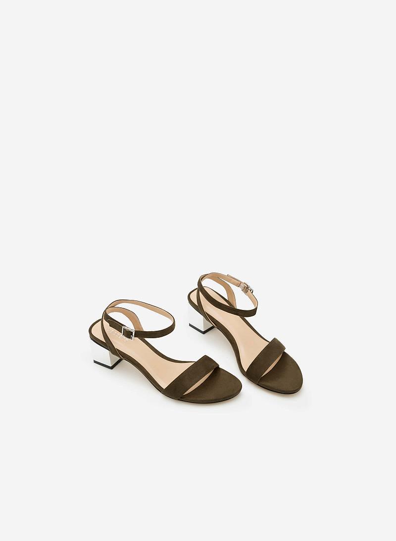 Giày sandal gót vuông SDN 0571 - Màu Xanh rêu - VASCARA