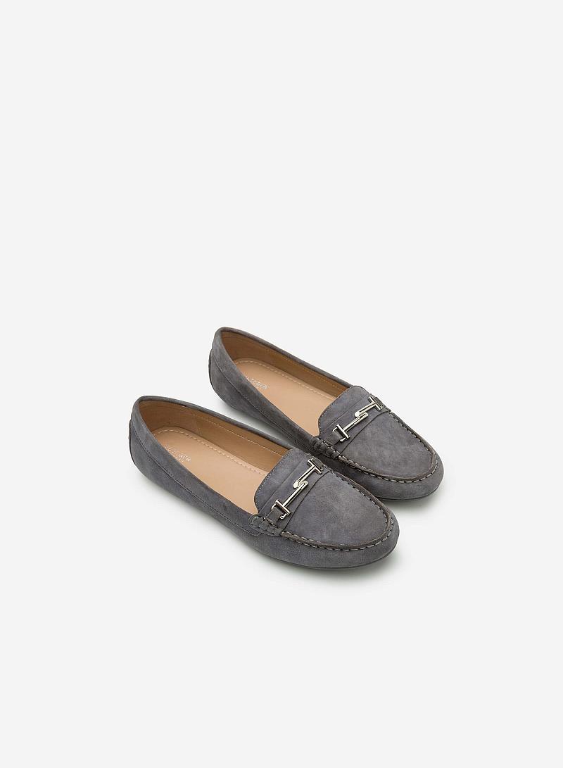 Giày lười da thật MOI 0087 - Màu Xám đậm - vascara