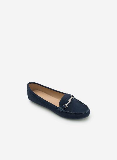 Giày lười da thật MOI 0087 - Màu Xanh dương - VASCARA