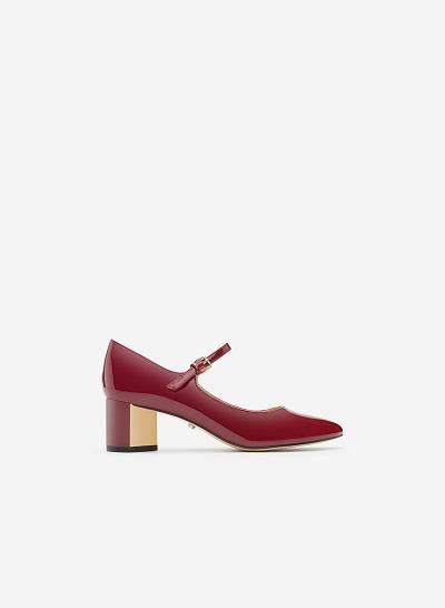 Giày bít gót vuông BMT 0445 - Màu Đỏ bầm - vascara.com