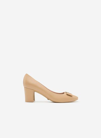 Giày bít gót vuông BMT 0438 - Màu Be - VASCARA