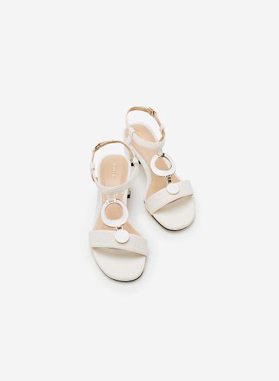 Giày Sandal Gót Vuông SDN 0566 - Màu Trắng - VASCARA