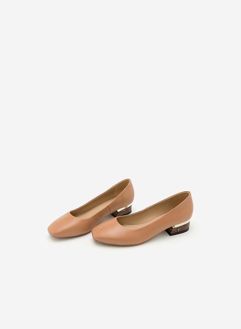 Giày Bít Gót Vuông BMT 0447 - Màu Be Đậm - vascara