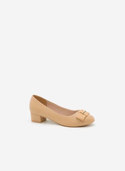 Giày Bít Gót Vuông BMT 0448 - Màu Be