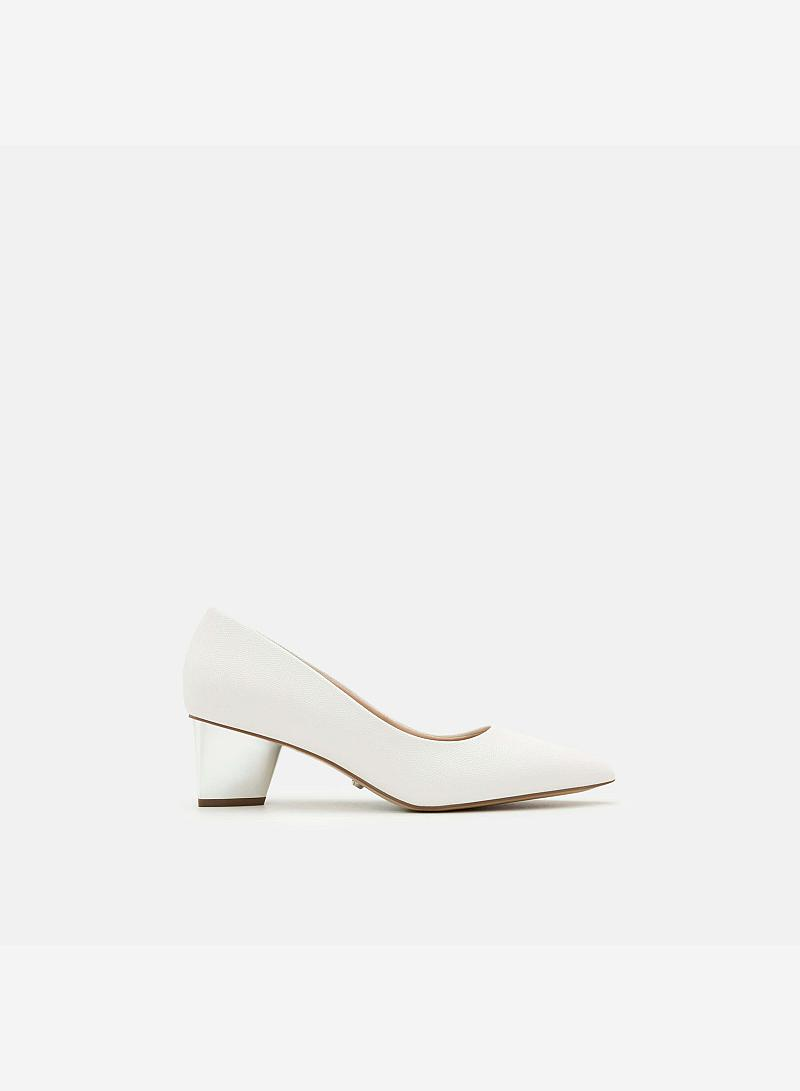 Giày Bít Gót Vuông BMN 0272 - Màu Trắng - vascara