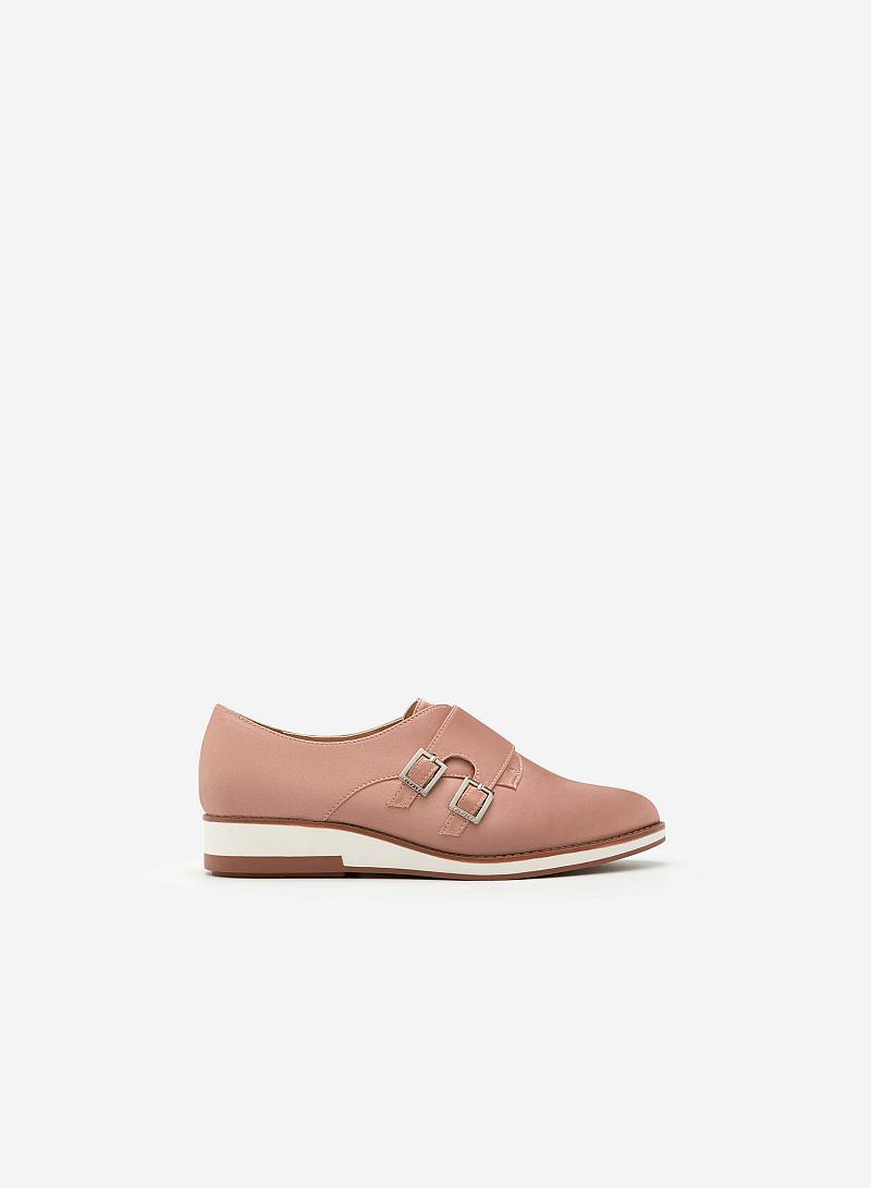 Giày Sneaker Satin Phối Khóa Cài Kiểu Belt -  Màu Vàng Hồng - SNK 0009 - VASCARA