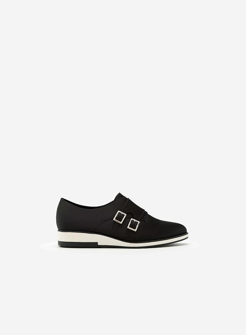 Giày Sneaker Satin Phối Khóa Cài Kiểu Belt -  Màu Đen - SNK 0009 - VASCARA