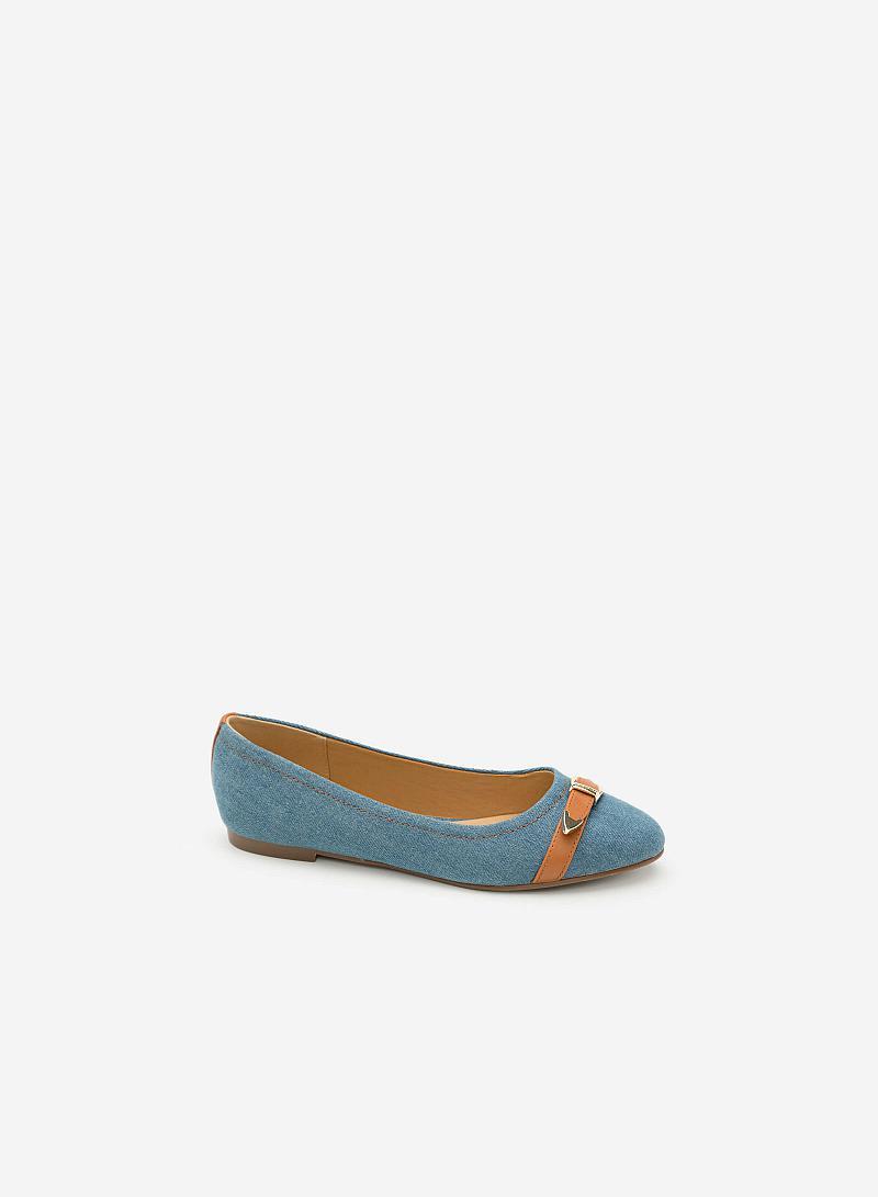 Giày Búp Bê Phối Belt -  Màu Xanh Dương - GBB 0403 - vascara