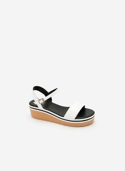 Giày Sandal Đế Xuồng Quai Ngang -  Màu Trắng - SDX 0401