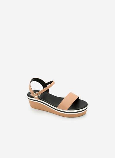 Giày Sandal Đế Xuồng Quai Ngang -  Màu Be - SDX 0401