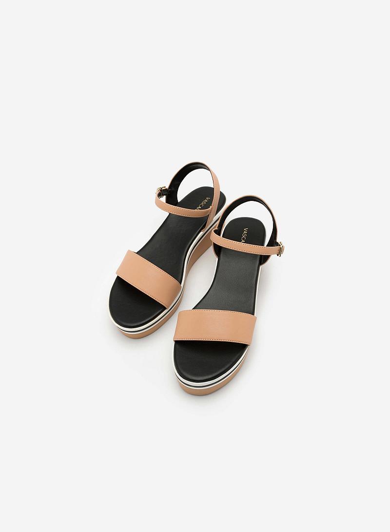 Giày Sandal Đế Xuồng Quai Ngang -  Màu Be - SDX 0401 - vascara