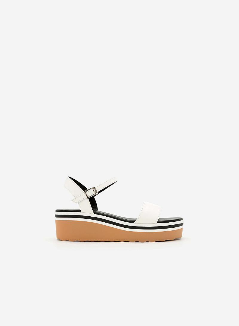 Giày Sandal Đế Xuồng Quai Ngang -  Màu Trắng - SDX 0401 - vascara