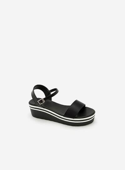 Giày Sandal Đế Xuồng Quai Ngang -  Màu Đen - SDX 0401
