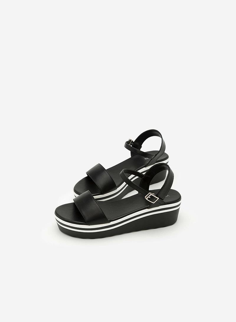 Giày Sandal Đế Xuồng Quai Ngang -  Màu Đen - SDX 0401 - vascara