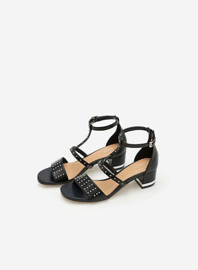 Giày Sandal Gót Vuông Phối Đinh Tán -  Màu Đen - SDN 0604