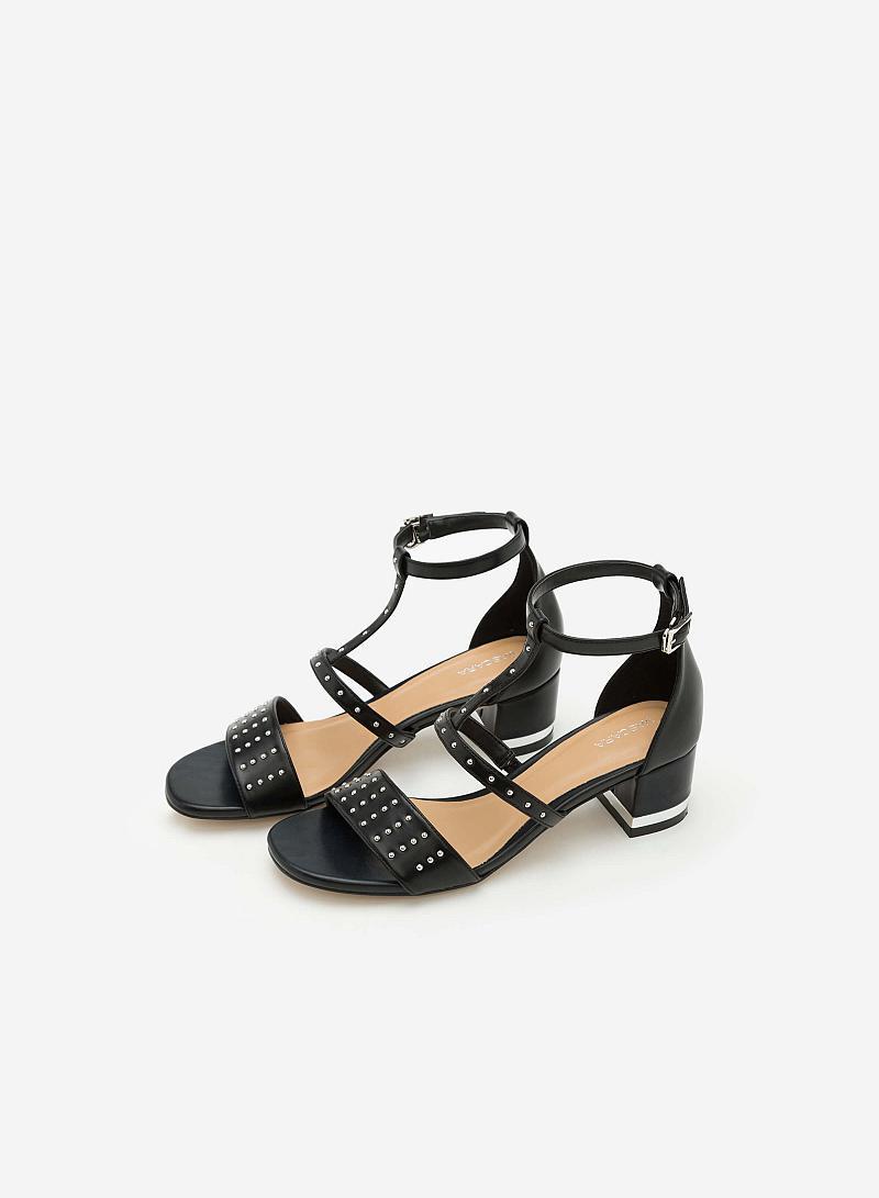 Giày Sandal Gót Vuông Phối Đinh Tán -  Màu Đen - SDN 0604 - VASCARA
