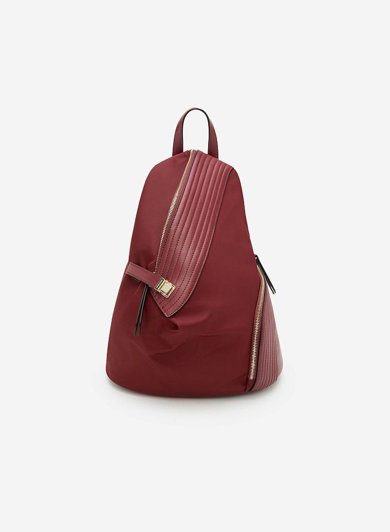 Balo Vải Phối Da May Chần -  Màu Đỏ Đậm - BAC 0088 - VASCARA