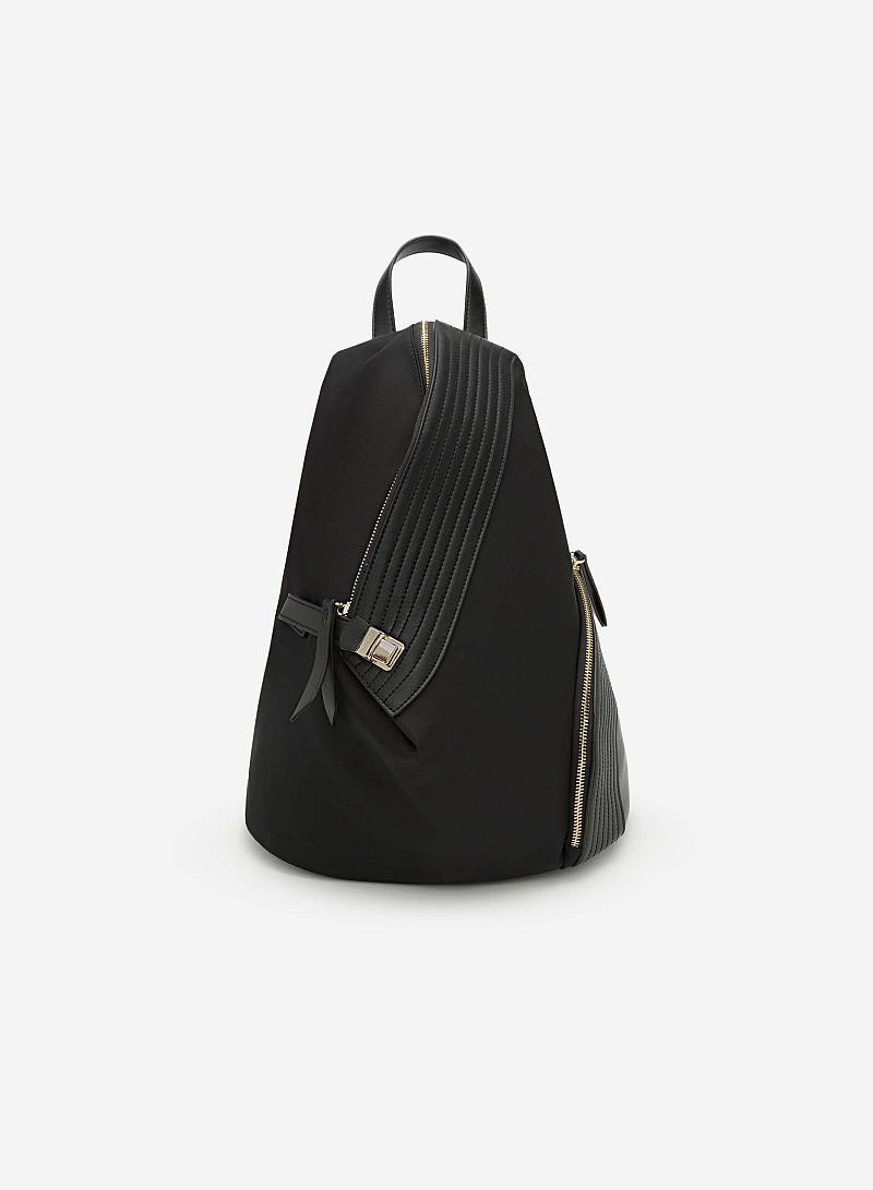 Balo Vải Phối Da May Chần -  Màu Đen - BAC 0088 - vascara