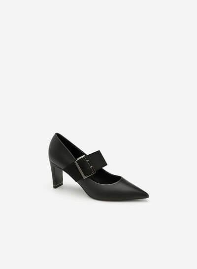 Giày Cao Gót Mary Janes Bản To - BMN 0319 - Màu Đen - VASCARA