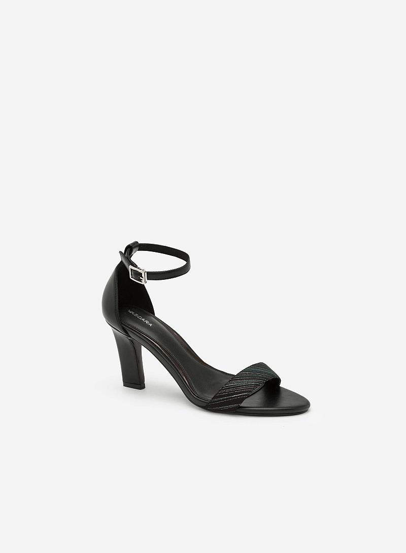 Giày Sandal Gót Vuông Quai Cổ Chân - SDN 0624 - Màu Đen - vascara
