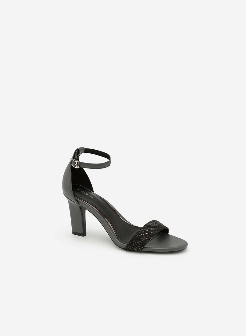 Giày Sandal Gót Vuông Quai Cổ Chân - SDN 0624 - Màu Xám - VASCARA