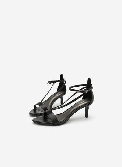Giày Sandal Quai Chữ V Ánh Kim - SDN 0625 - Màu Đen - VASCARA