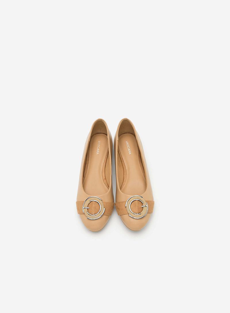 Giày Búp Bê Phối Khóa Cài - GBB 0407 - Màu Be - VASCARA