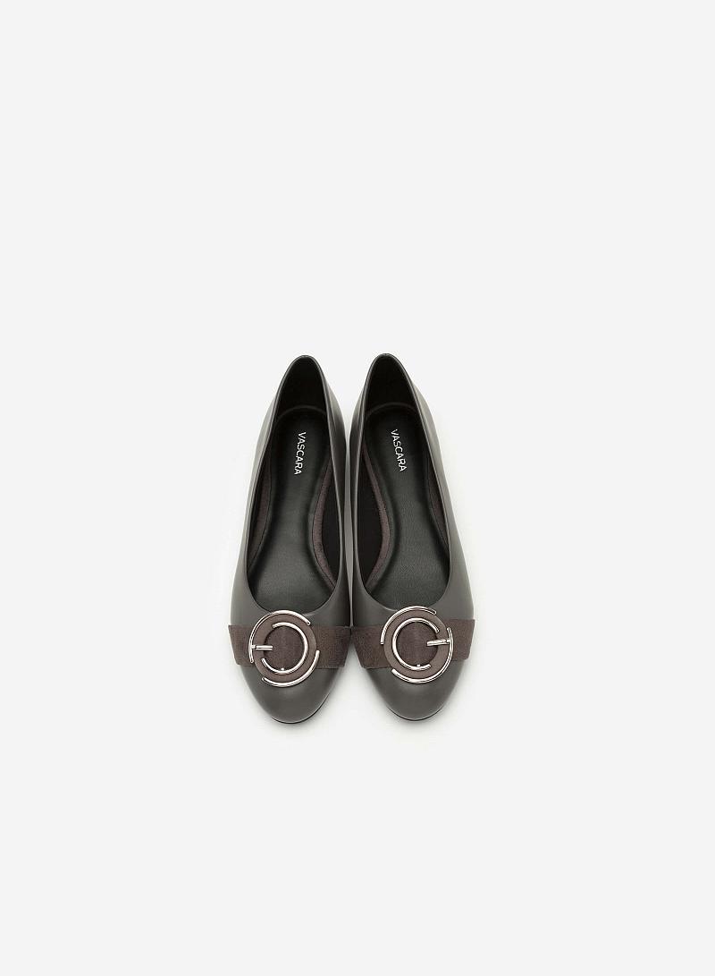 Giày Búp Bê Phối Khóa Cài - GBB 0407 - Màu Xám - vascara