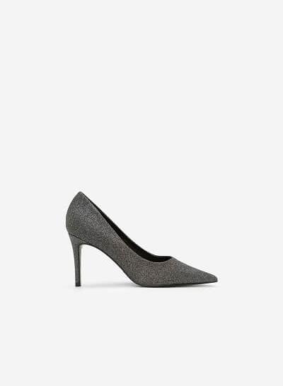 Giày Cao Gót Mũi Nhọn Sequin - BMN 0330 - Màu Xám Khói Đậm
