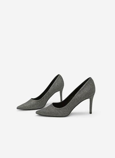 Giày Cao Gót Mũi Nhọn Sequin - BMN 0330 - Màu Xám Khói Đậm - VASCARA