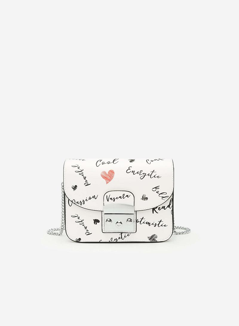 Túi Dáng Hộp Vuông In Họa Tiết Phối Khóa Đôi - SHO 0119 - Màu Trắng - VASCARA