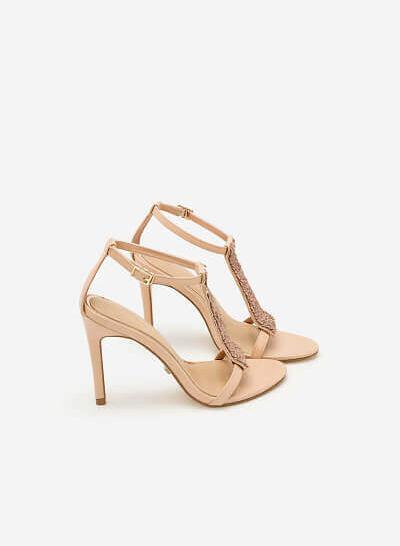 Giày Sandal Cao Gót Sequin - SDN 0620 - Màu Vàng Hồng - VASCARA