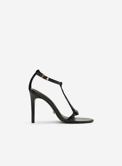 Giày Sandal Cao Gót Sequin - SDN 0620 - Màu Đen - VASCARA