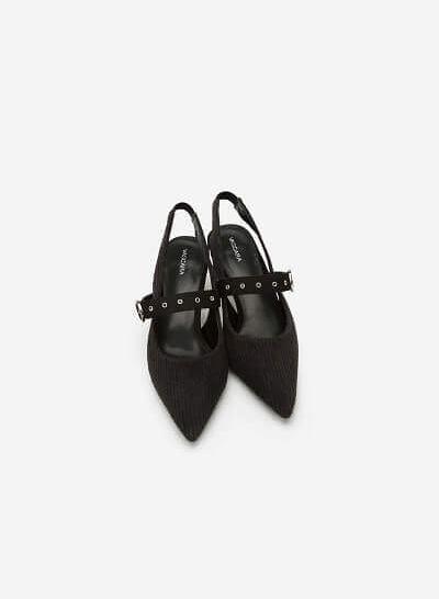 Giày Slingback Kaki Nhung Gân - BMN 0320 - Màu Đen - vascara
