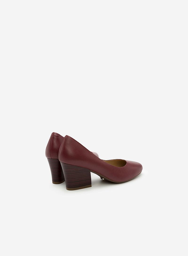 Giày Bít Gót Vuông BMT 0439 - Màu Đỏ Bầm - vascara
