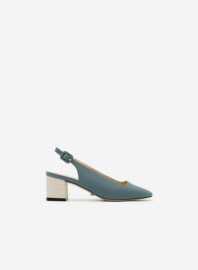 Giày Bít Gót Vuông BMT 0446 - Màu Xanh Da Trời - vascara