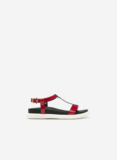 Giày Sandal Đế Bằng DXP 0117 - Màu Đỏ - VASCARA
