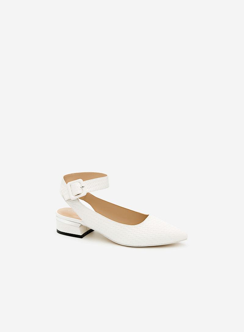 Giày Bít Gót Vuông BMN 0254 - Màu Trắng - vascara