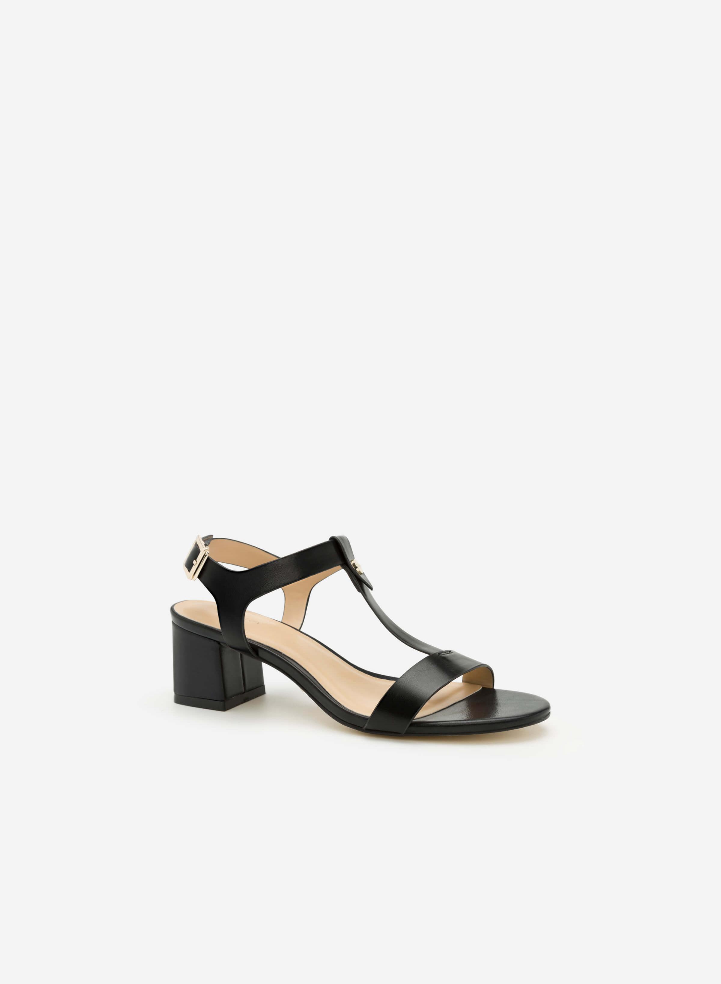 Giày Sandal Gót Vuông Quai Chữ T - Màu Đen - SDN 0601 Vascara