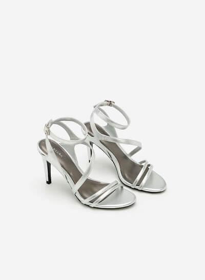 Giày Sandal Cao Gót Quai Lượn Chéo -  Màu Bạc - SDN 0606 - VASCARA
