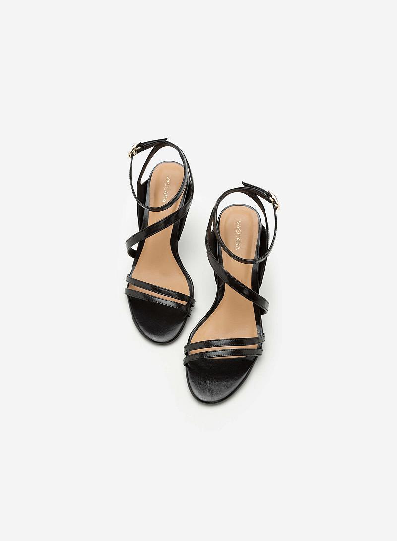 Giày Sandal Cao Gót Quai Lượn Chéo -  Màu Đen - SDN 0606 - vascara