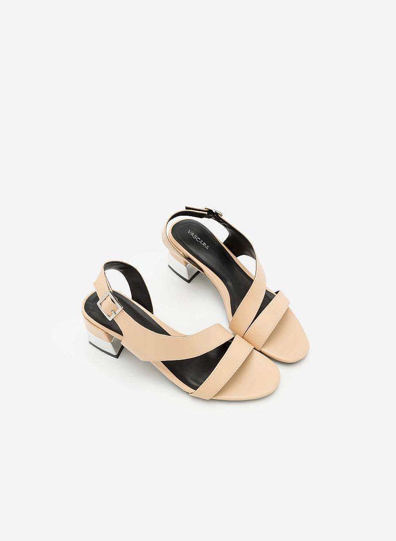 Giày Sandal Gót Vuông Quai Lượn Chéo -  Màu Be - SDN 0608 - vascara
