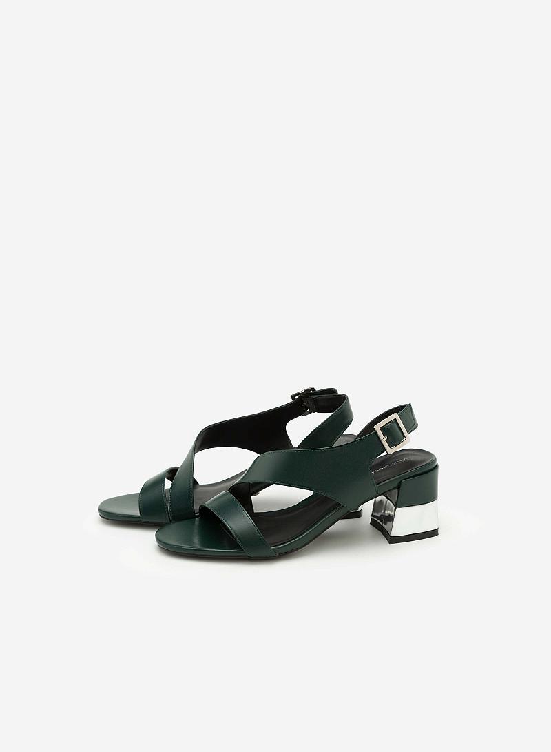 Giày Sandal Gót Vuông Quai Lượn Chéo - Màu Xanh Lá - SDN 0608 - vascara