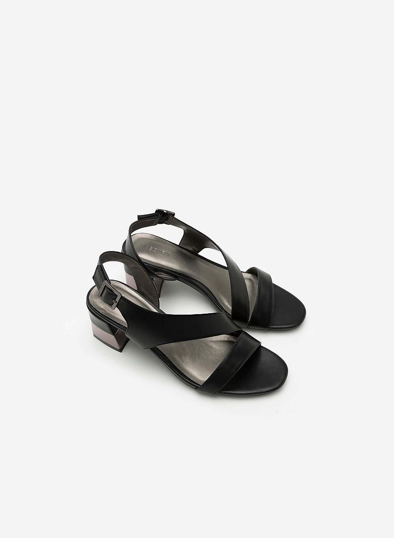 Giày Sandal Gót Vuông Quai Lượn Chéo -  Màu Đen - SDN 0608 - vascara