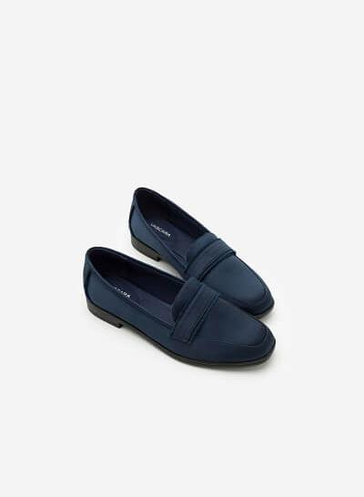 Giày Lười Satin - Màu Xanh Navy - MOI 0095 - VASCARA