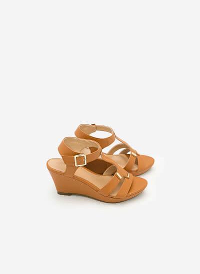 Giày Sandal Cao Đế Xuồng -  Màu Nâu - SDX 0402 - vascara