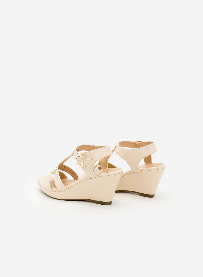 Giày Sandal Cao Đế Xuồng -  Màu Kem - SDX 0402 - vascara