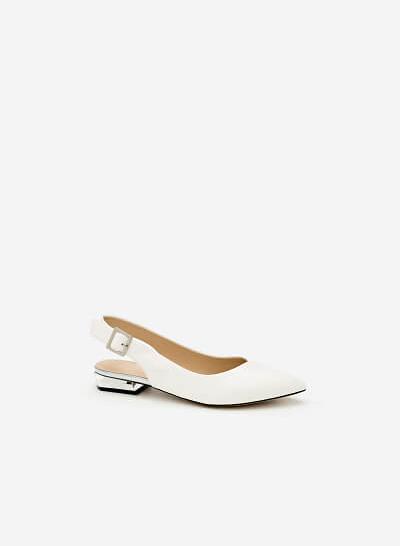 Giày Bít Gót Vuông BMN 0274 - Màu Trắng