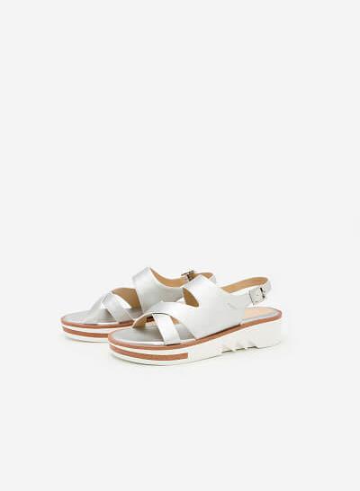 Giày Sandal Đế Xuồng SDX 0399 - Màu Bạc - VASCARA