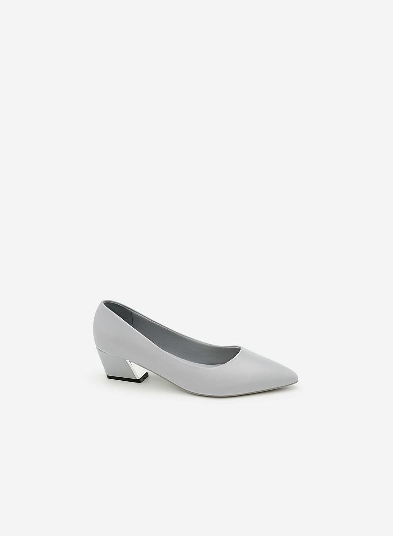 Giày Bít Gót Vuông BMN 0278 - Màu Xám Nhạt - vascara